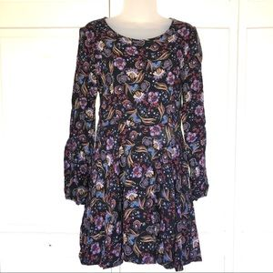 Floral Patten Black Long Sleeve Scoop Dress